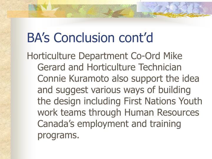 BA's Conclusion cont'd