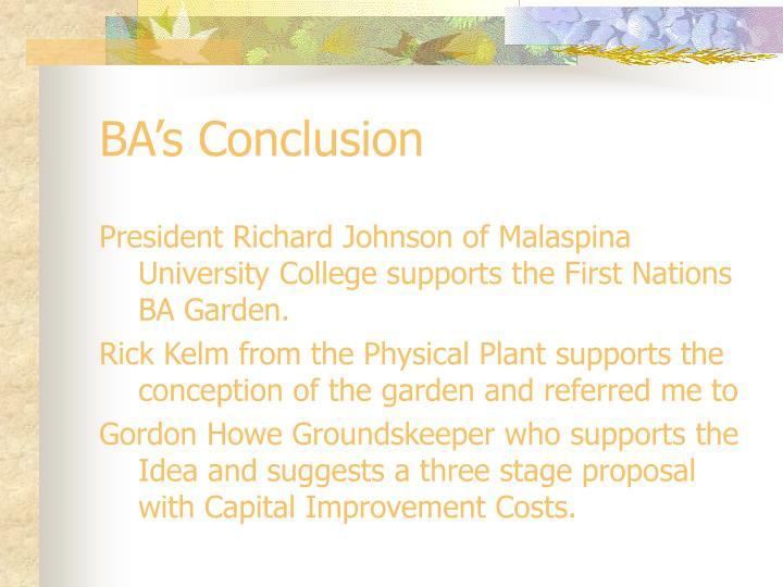 BA's Conclusion