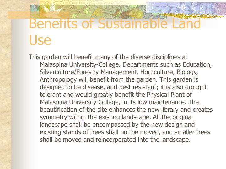 Benefits of Sustainable Land Use