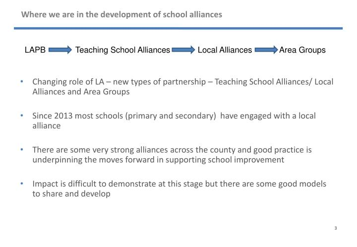 Where we are in the development of school alliances