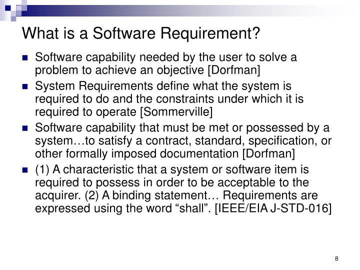 What is a Software Requirement?
