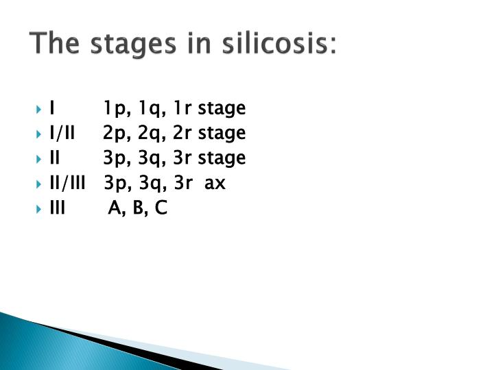 The stages in silicosis: