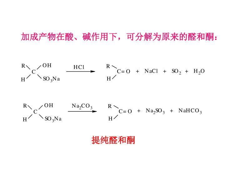 加成产物在酸、碱作用下,可分解为原来的醛和酮: