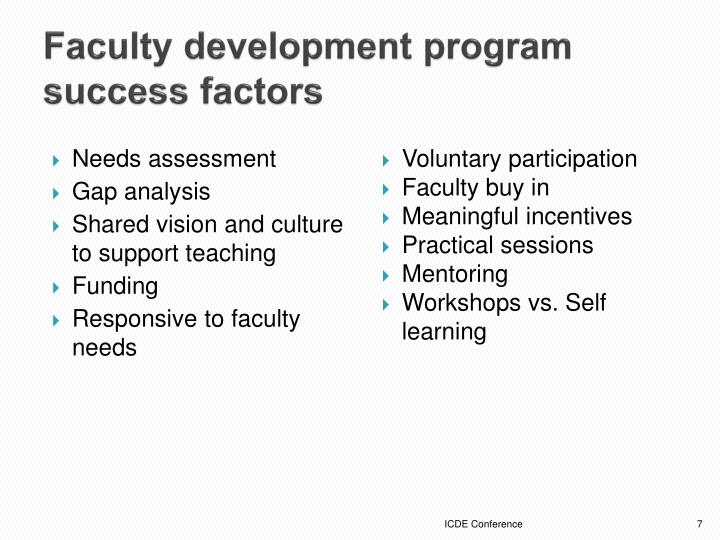 Faculty development program success factors