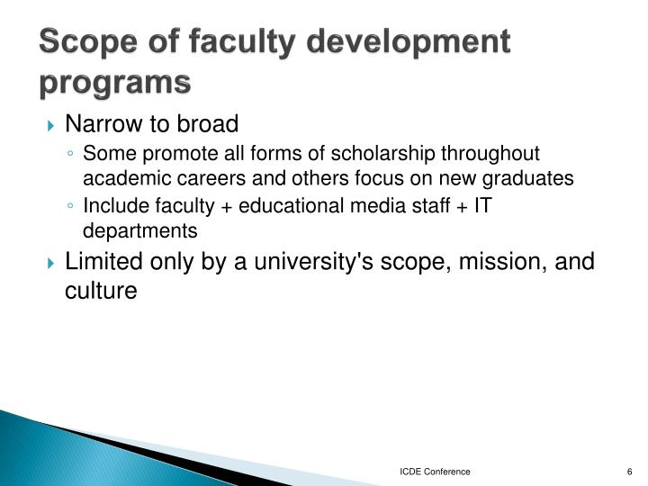 Scope of faculty development programs