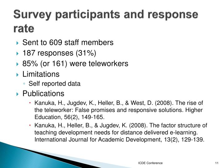 Survey participants and response rate