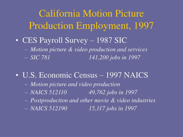 California Motion Picture Production Employment, 1997