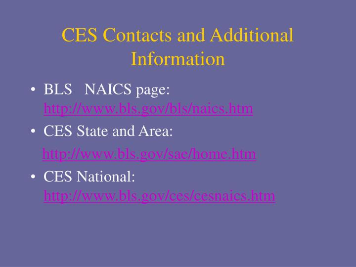 CES Contacts and Additional Information