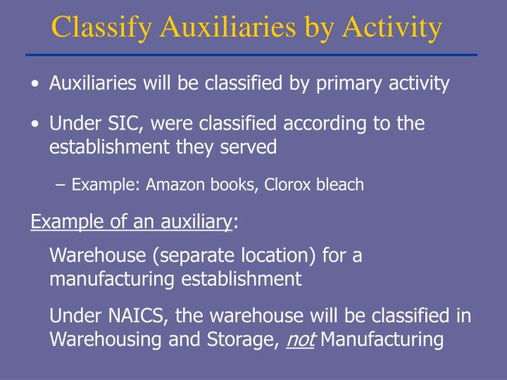 Classify Auxiliaries by Activity