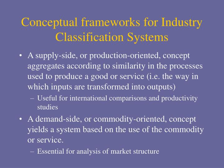 Conceptual frameworks for Industry Classification Systems