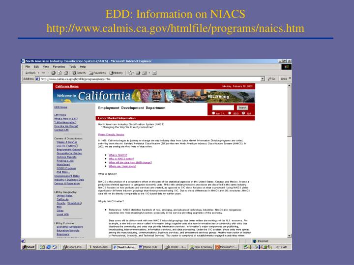 EDD: Information on NIACS http://www.calmis.ca.gov/htmlfile/programs/naics.htm