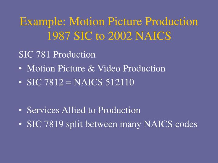 Example: Motion Picture Production
