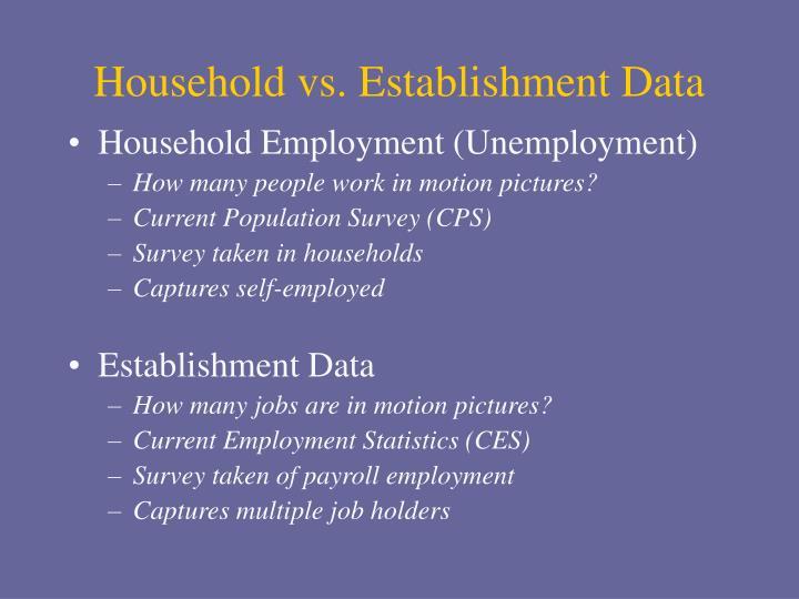 Household vs. Establishment Data