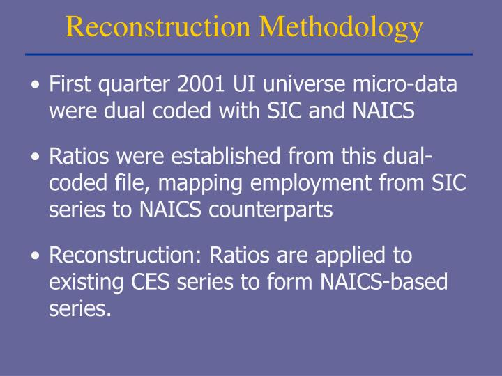 Reconstruction Methodology