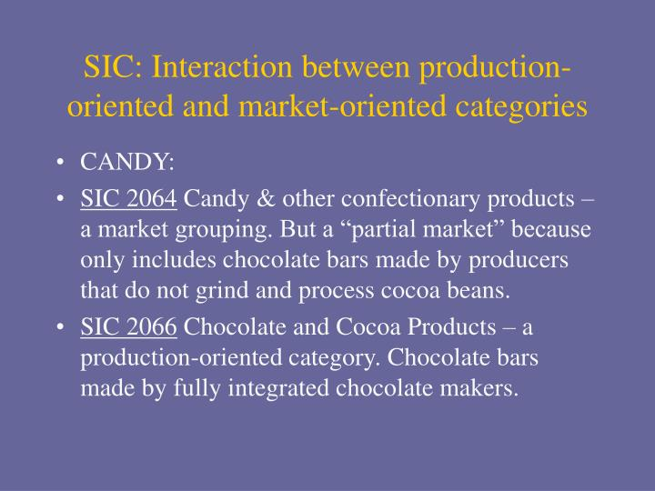 SIC: Interaction between production-oriented and market-oriented categories