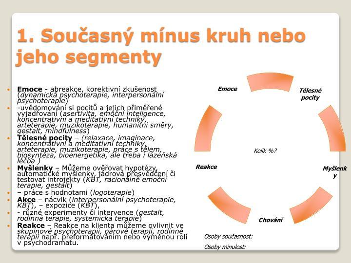 1. Současný mínus kruh nebo jeho segmenty