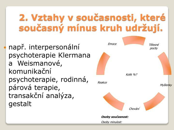 2. Vztahy vsoučasnosti, které současný mínus kruh udržují.