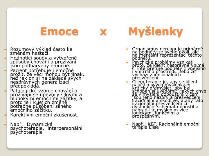 Emoce      x      Myšlenky
