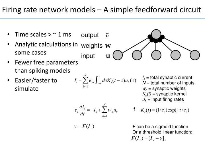 Firing rate network models – A simple feedforward circuit