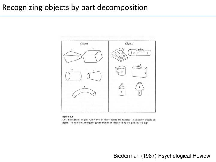 Recognizing objects by part decomposition