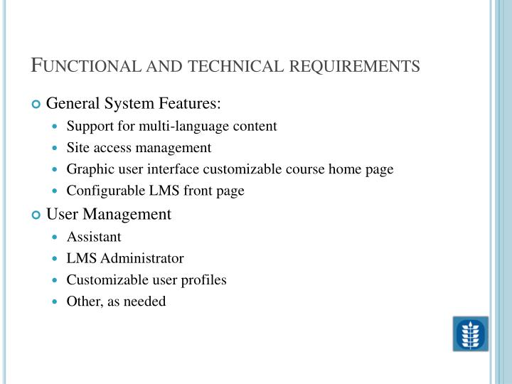 Functional and technical requirements