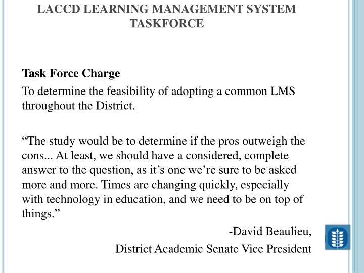 Laccd learning management system taskforce