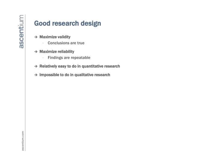 Good research design