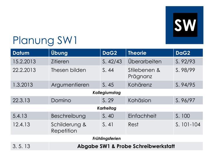 Planung SW1