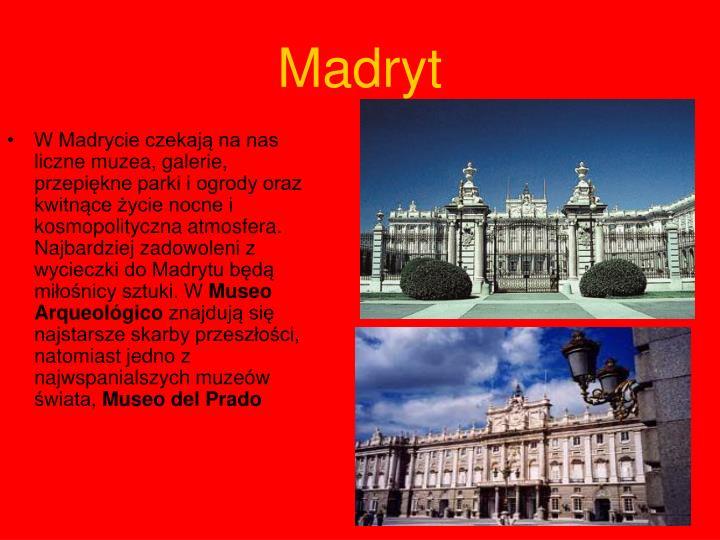 W Madrycie czekają na nas liczne muzea, galerie, przepiękne parki i ogrody oraz kwitnące życie nocne i kosmopolityczna atmosfera. Najbardziej zadowoleni z wycieczki do Madrytu będą miłośnicy sztuki. W