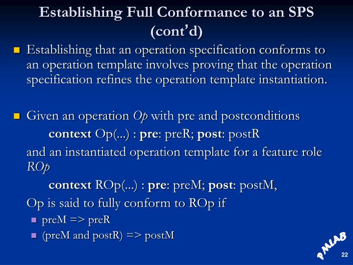 Establishing Full Conformance to an SPS (cont