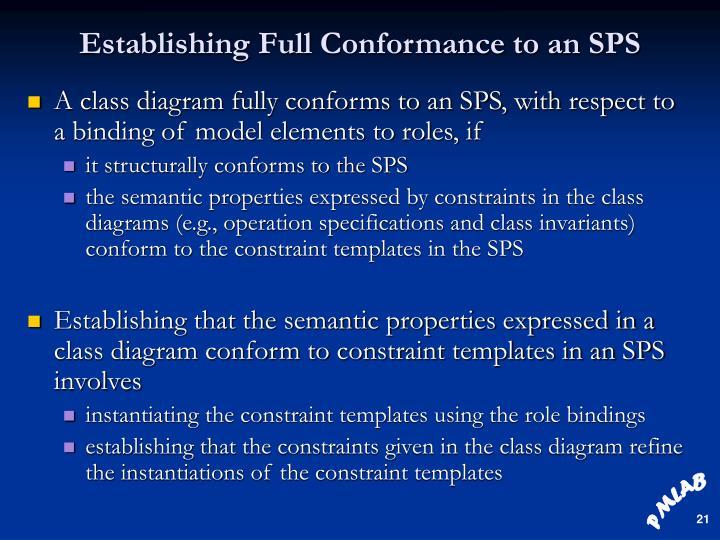 Establishing Full Conformance to an SPS