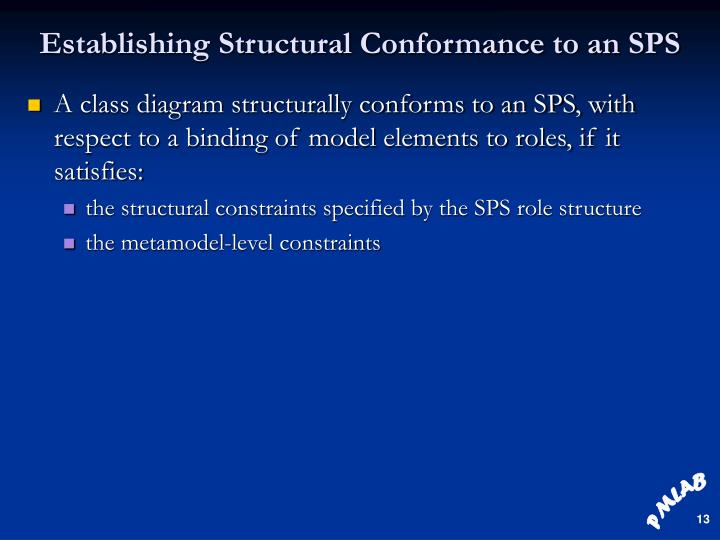 Establishing Structural Conformance to an SPS