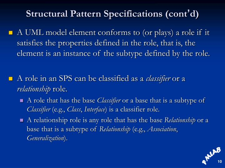 Structural Pattern Specifications (cont