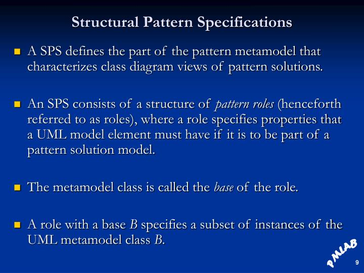 Structural Pattern Specifications
