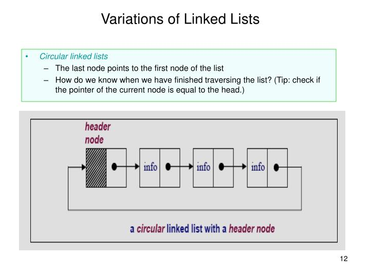 Variations of Linked Lists