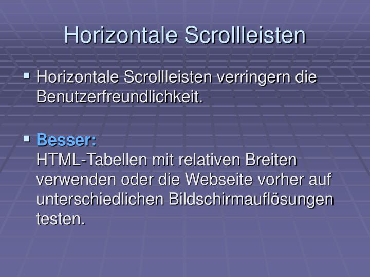 Horizontale Scrollleisten