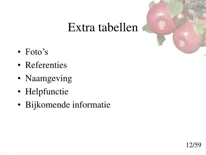 Extra tabellen