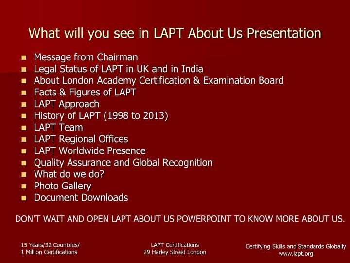 What will you see in LAPT About Us Presentation