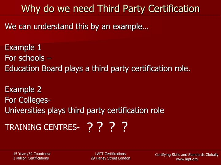 Why do we need Third Party Certification