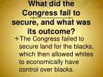 what did the congress fail to secure and what was its outcome