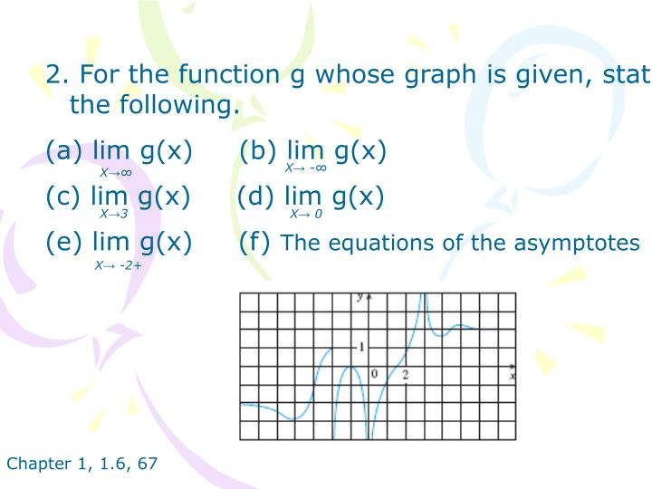 2. For the function g whose graph is given, state the following.