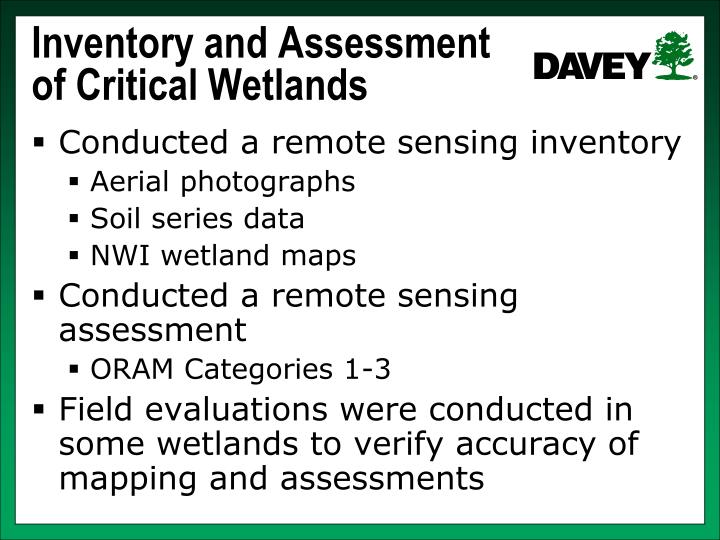 Inventory and Assessment of Critical Wetlands
