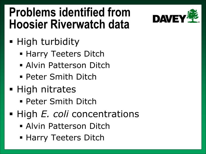 Problems identified from Hoosier Riverwatch data