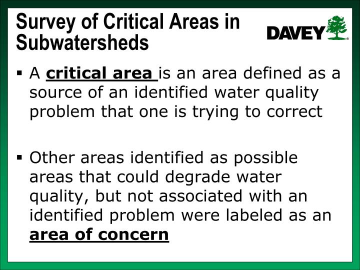Survey of Critical Areas in Subwatersheds