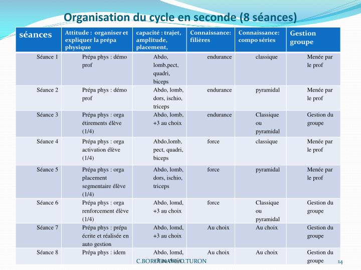 Organisation du cycle en seconde (8 séances)