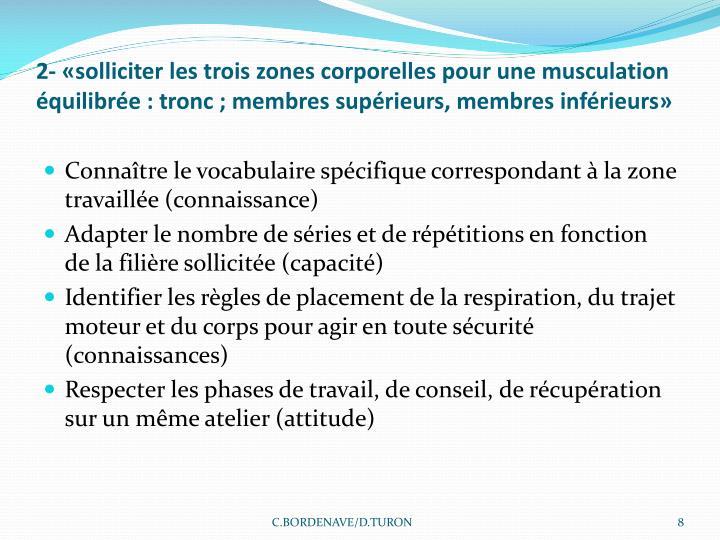 2- «solliciter les trois zones corporelles pour une musculation équilibrée: tronc; membres supérieurs, membres inférieurs»