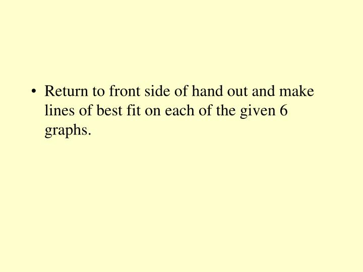 Return to front side of hand out and make lines of best fit on each of the given 6 graphs.