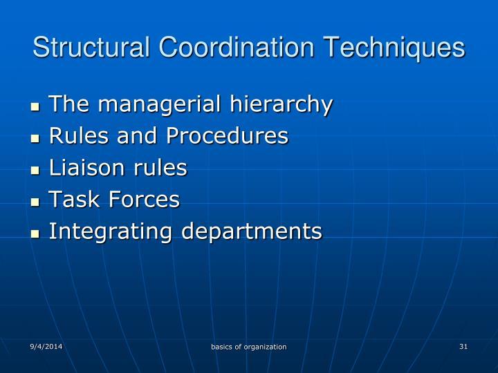 Structural Coordination Techniques