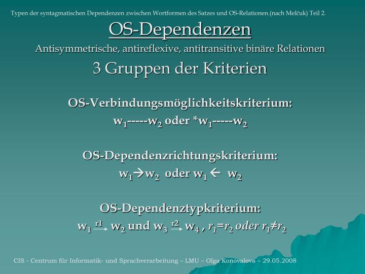 Typen der syntagmatischen Dependenzen zwischen Wortformen des Satzes und OS-Relationen.(nach Mel