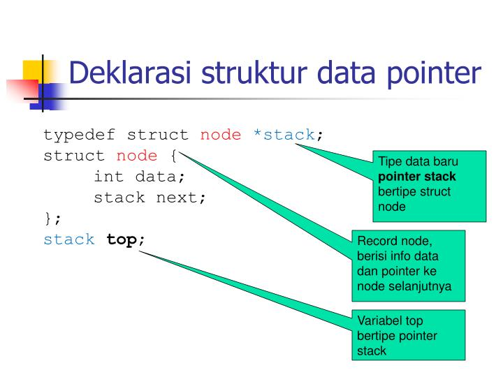Deklarasi struktur data pointer